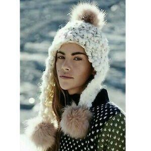 FREE PEOPLE Snow Castle Trapper Pom Beanie
